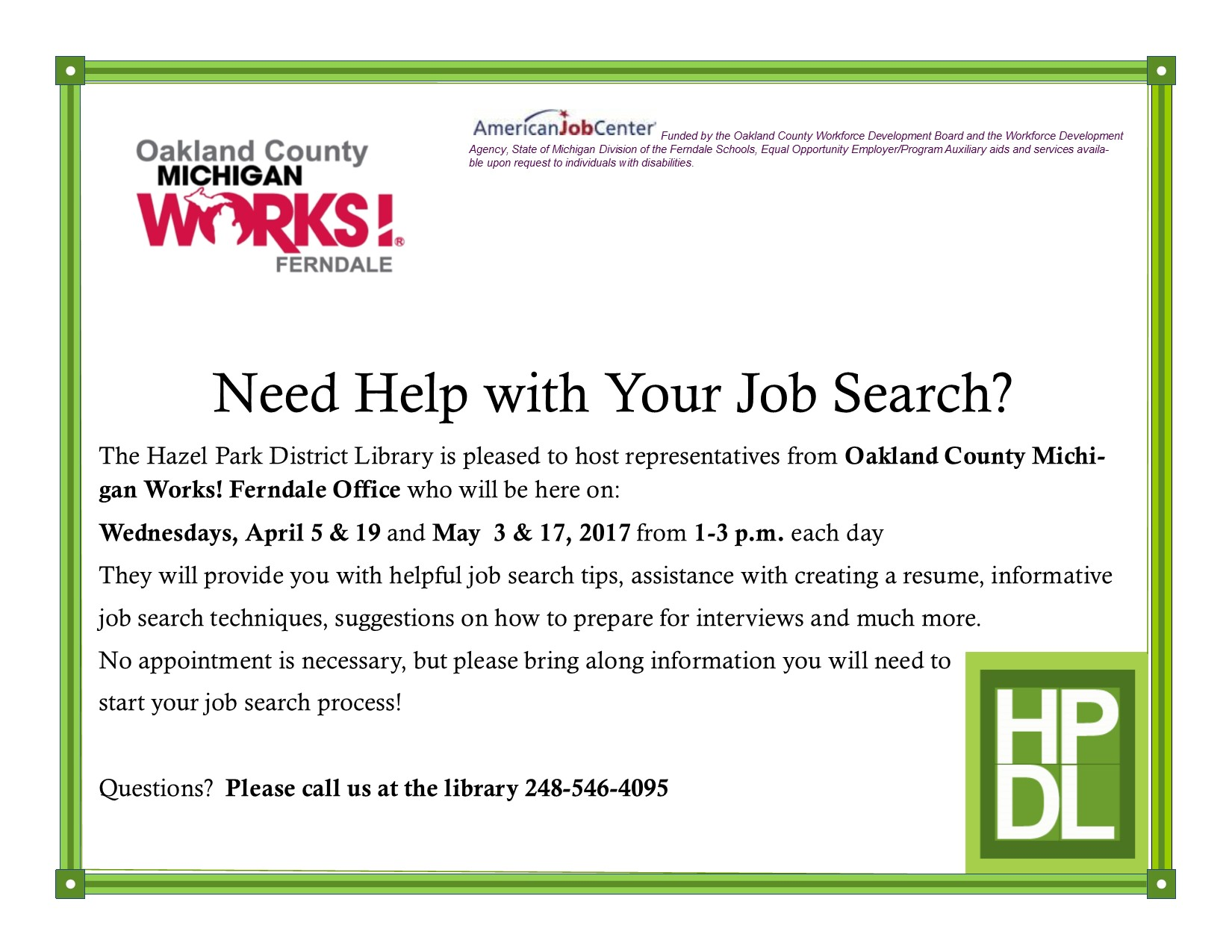 hazel park district library michigan works